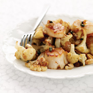 Seared Scallops with Cauliflower, Capers and Raisins.