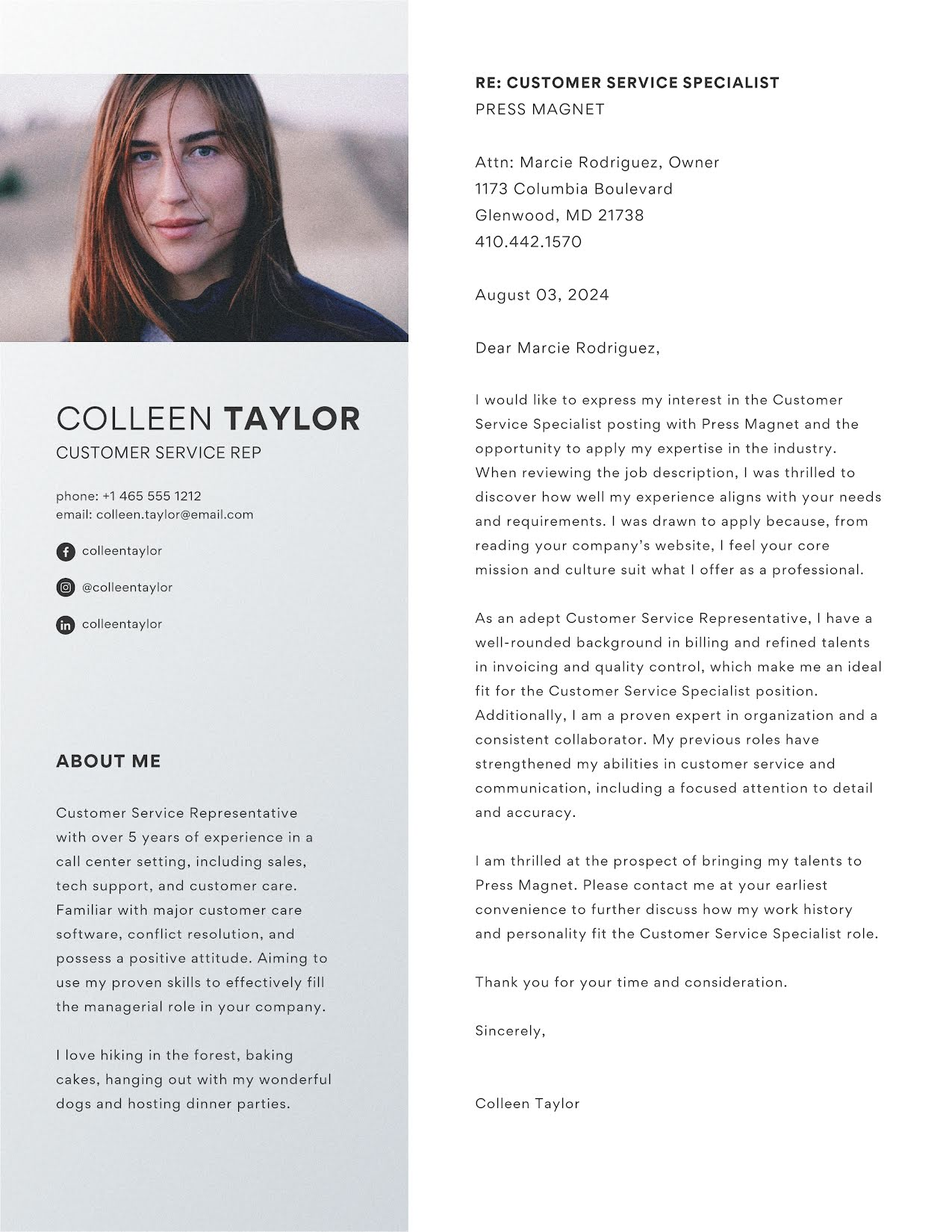 Colleen Taylor - Cover Letter Template