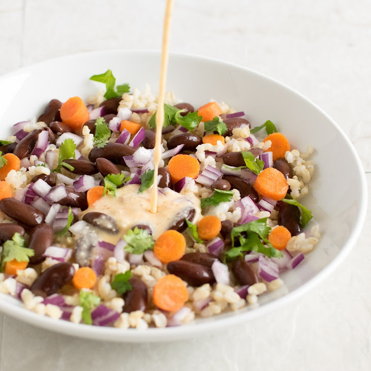 Brown Rice Kidney Bean Salad with Coconut Sriracha Dressing Recipe