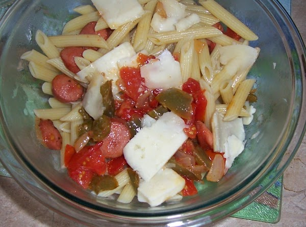 I have added the cooked pasta, the simmered veggies, sharp cheese chunks and mix well.