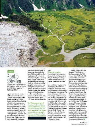 Tongass National Forest for Audubon Magazine