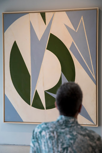 Installation view of Lee Krasner: Living Colour at the Barbican Art Gallery, London - featuring Olympic, 1974