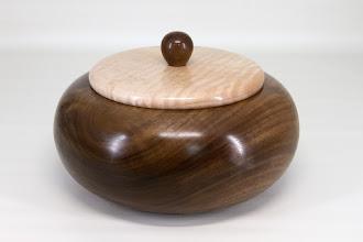 "Photo: Joe Stout 8"" x 4"" Beads of Courage box [walnut, maple]"