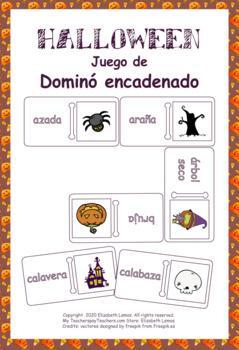 Halloween en español: juego de Dominó encadenado by Elizabeth Lemos