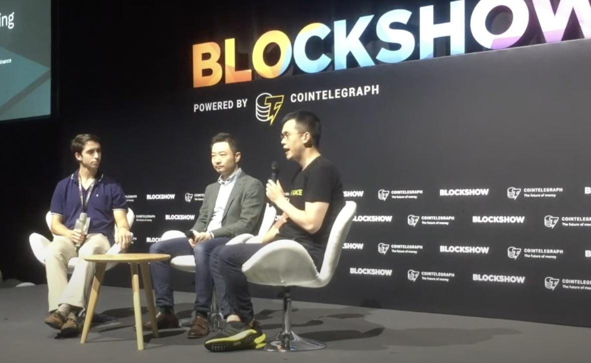 Binance's Changpeng Zhao and Da Hongfei at the Blockshow Asia in 2019