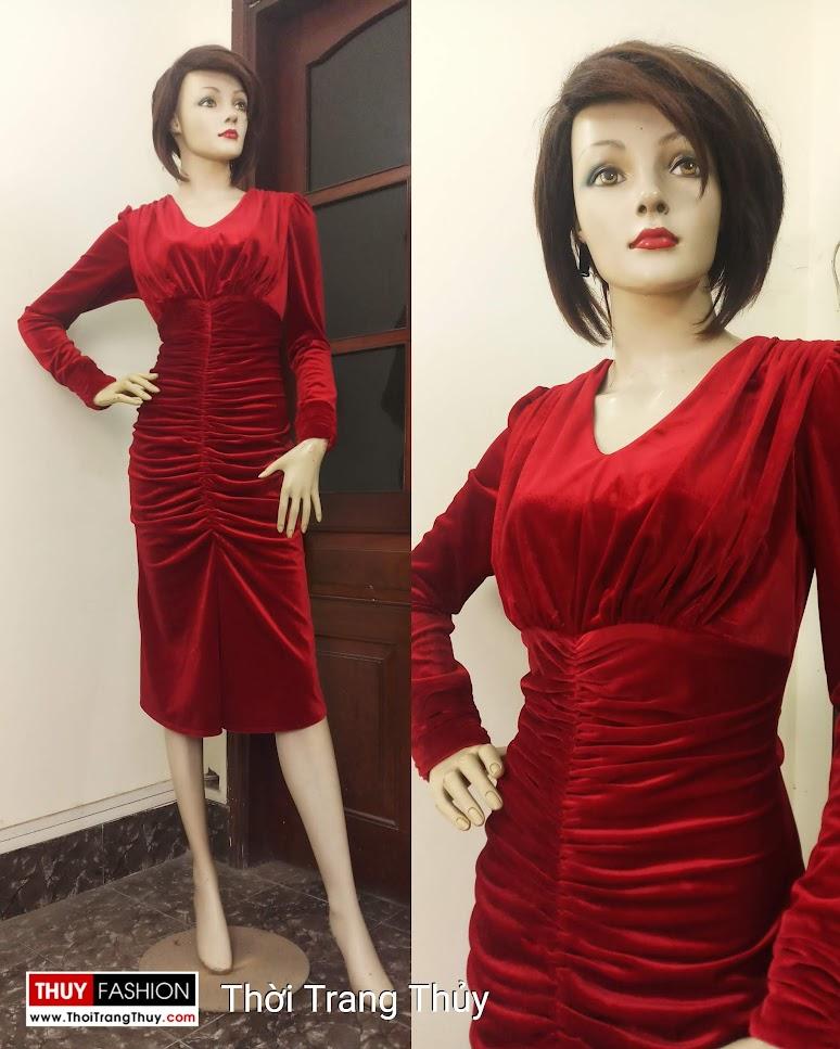 Váy dự tiệc Xếp nhun Vải nhung quyến rũ V671 hải phòng