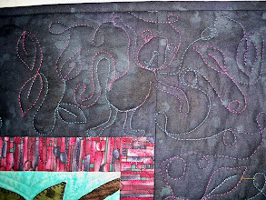 Photo: In the top right hand corner of the border Bernadine quilted a monkey and leaves to duplicate designs from the quilt.