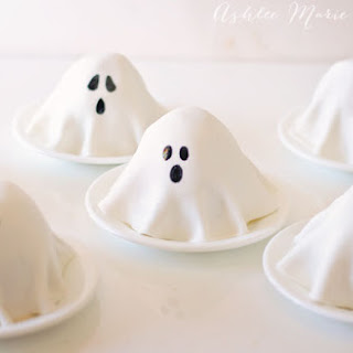 Mini Ghost Pumpkin Cakes.