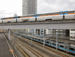 Photo: There are also at least two JR lines, a subway line, and the Tokyo Monorail (whilch we took to the airport) running through the same right-of-way.