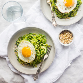 Paleo Zucchini Noodles with Everything Pesto and Fried Eggs