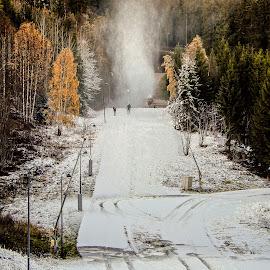 Preparing the Slopes by Richard Michael Lingo - City,  Street & Park  Vistas ( skiing, city, snow, vista, park )