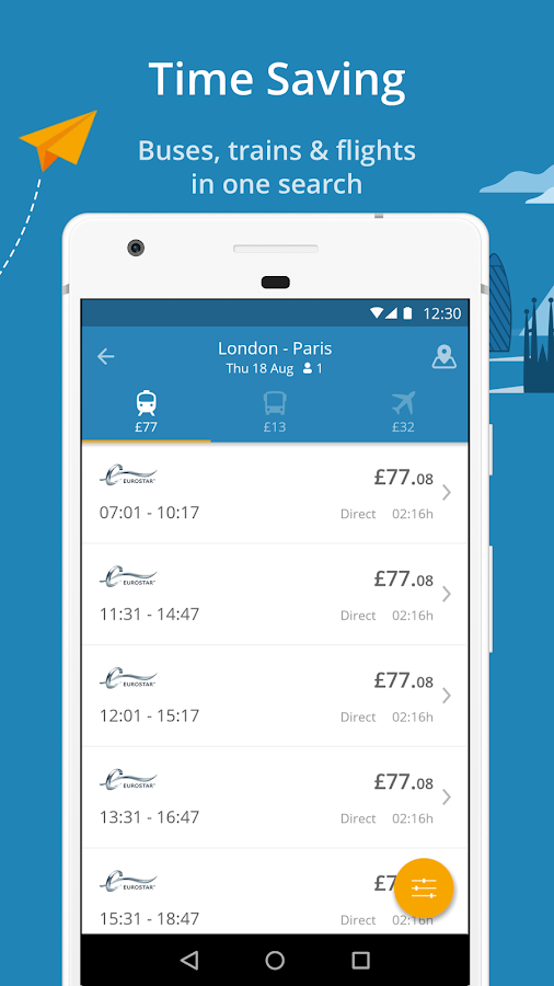 GoEuro: trains, buses, flights- screenshot