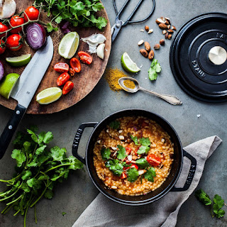 Curry Pearl Barley Porridge with Tomatoes, Coriander, Lime and Almonds Recipe