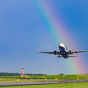 Leaving the Rainbow by Darrell Evans - Transportation Airplanes ( plane, flight, rainbow, wings, aircraft, jet, departure, travel, holiday, airborn, airport )