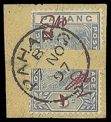 Dexu moitiés d'un timbre de Penang
