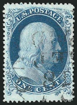 1¢ bleu, Benjamin Franklin