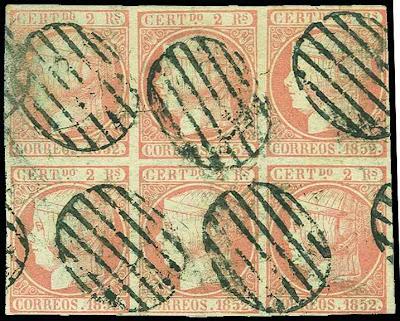 Un bloc de six timbres rares d'Espagne
