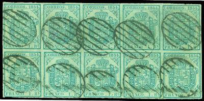 Un bloc de dix timbres rares d'Espagne