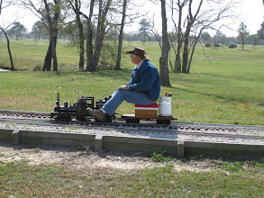 Photo: Doug Blodgett on his 4.75 inch gauge Shay.   HALS 2009-0228