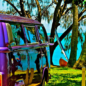 Live Without Pretending. by Alicia Lockwood - Transportation Automobiles ( car, tree, beach )