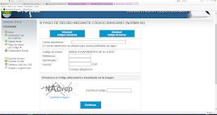 Menú de pantalla para el pago de recibos on-line.