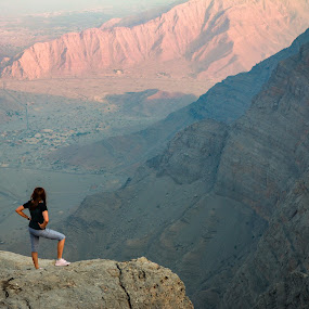 Lady on the top of quiet mountains by Salman Ahmed - Landscapes Mountains & Hills ( mountains, girl, height, travel, top )