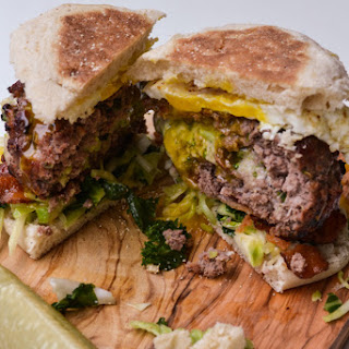 Broccoli & Cheddar Stuffed Breakfast Burger.