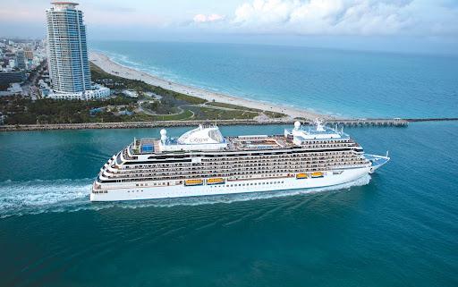 Seven Seas Splendor sails out of Miami on a cruise to the tropics.