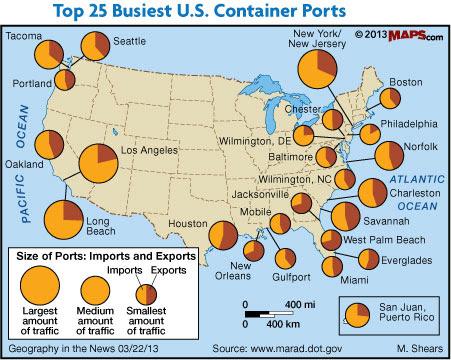 Крупнейшие морские порты США