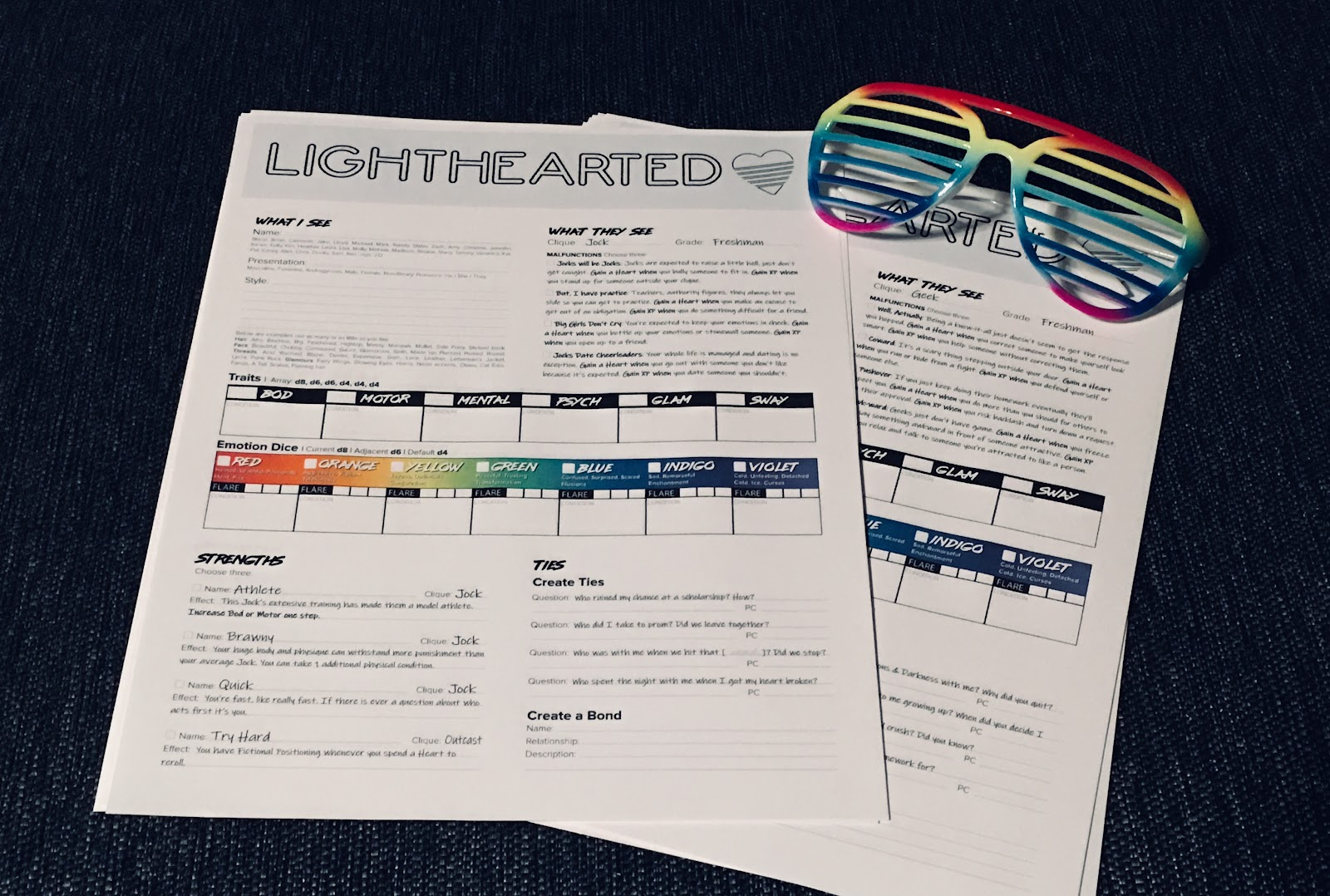 Lighthearted Character Sheets