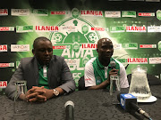 AmaZulu FC striker Siyabonga Nomvethe (R) announces his retirement during a press conference in Durban alongside club chairman Lunga Sokhela on Friday September 14 2018.