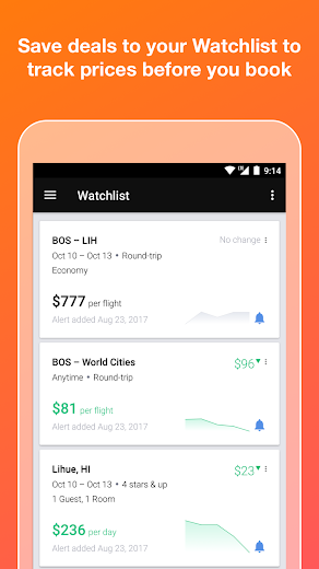 Screenshot 4 for Kayak's Android app'