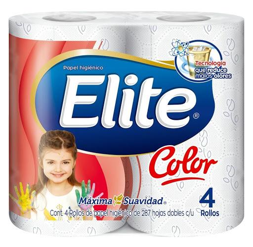 papel higienico elite color 287 hojas dobles 4 rollos