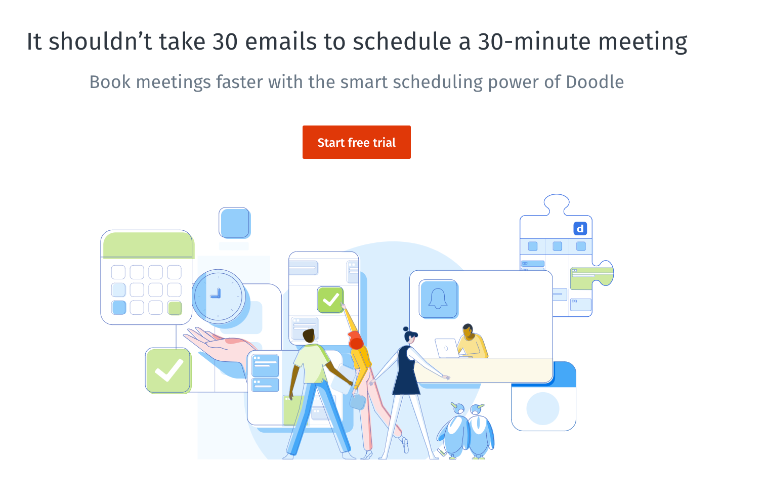 Doodle scheduling app homepage featuring animated characters managing time and meetings