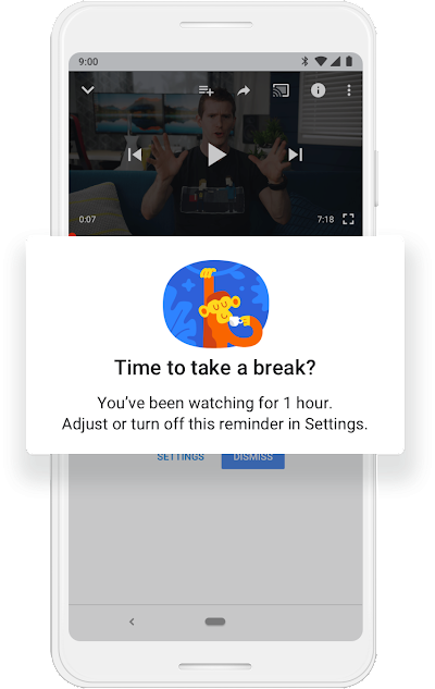 "A Google phone screen that shows an illustrated monkey sipping from a cup and the question ""Time to take a break? You've been watching for 1 hour."""