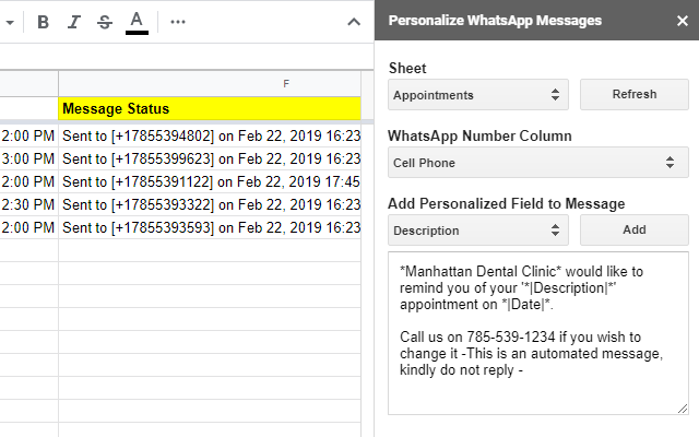 Personalize Whatsapp Messages G Suite Marketplace