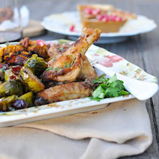 Mayo-Roasted Chicken Wings, Cranberry and Spice Brussel Sprouts + Pumpkin-Pecan Stuffing