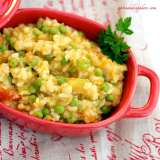 Risotto with Red Lentils & Green Peas