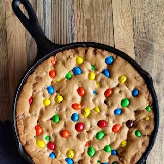 M&M Chocolate Chip Skillet Cookie