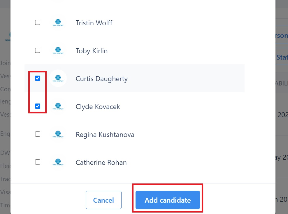 screenshot showing the check boxes and add candidate button