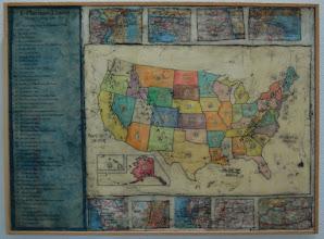 "Photo: State Mottos, 18 x 24"", encaustic collage"