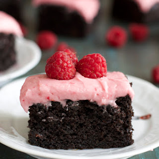 Dark Chocolate Brownies with Raspberry Frosting.