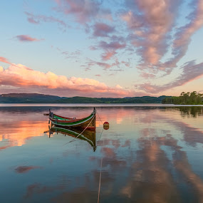 Summernight by the lake  by Grete Øiamo - Landscapes Sunsets & Sunrises ( water, sky, boat )