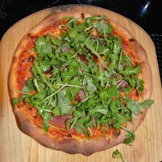 Speck and Arugula Pizza.