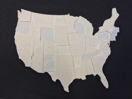USA Braille Map: Feel The World