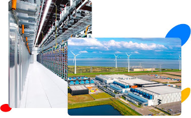 Two overlapping photos. One photo is of the inside of a Google data center, showing rows of servers. The other photo is of the outside of a Google data center with wind turbines in the distance.