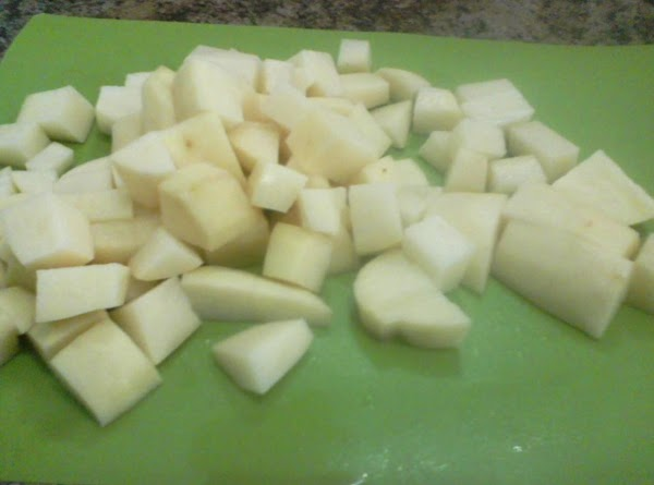 Peel and dice the potatoes into 1 inch or larger pieces, the potatoes will...