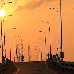 A Pleasant Evening! by Balaji Mohanam - City,  Street & Park  Street Scenes ( sunset, street, street scene, bridge, evening )
