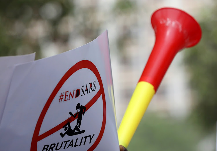 An 'End Sars' banner during a rally to stop the Special Anti-Robbery Squad in Abuja, Nigeria.