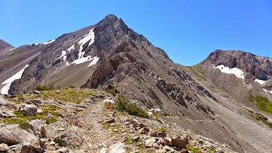 Photo: We followed this trail and then headed up through the pass shown to the right of center. Photo from Headquarters Pass